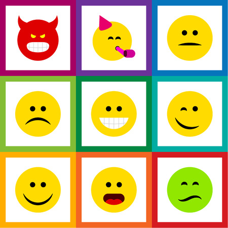 Flat Icon Gesture Set Of Pouting, Party Time Emoticon, Sad And Other Vector Objects. Also Includes Pouting, Wonder, Emoji Elements.