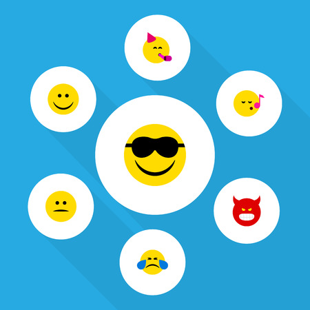 Flat Icon Expression Set Of Party Time Emoticon, Happy, Displeased And Other Vector Objects. Also Includes Song, Fun, Tears Elements.