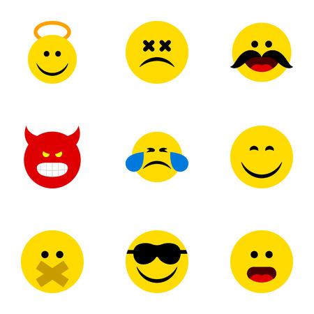 Flat Icon Emoji Conjunto de sonrisa, silencio, ángel y otros objetos vectoriales. También incluye Cara, Emoticon, Elementos felices.