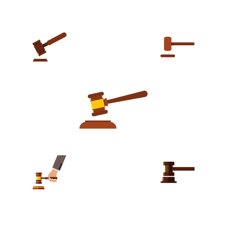 Flat Icon Hammer Set Of Government Building, Hammer, Crime And Other Vector Objects. Also Includes Justice, Tribunal, Hammer Elements.