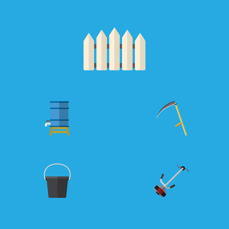Flat Icon Farm Set Of Container, Cutter, Pail And Other Vector Objects. Also Includes Mower, Tank, Scythe Elements.