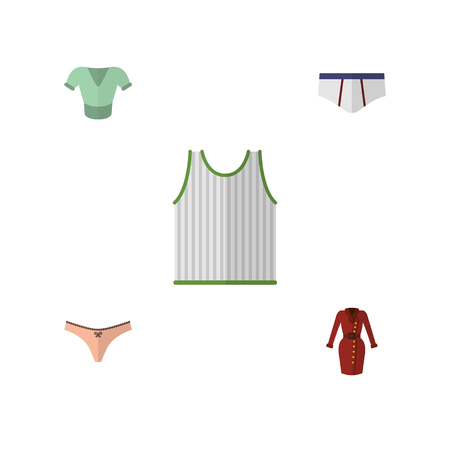 Flat Icon Clothes Set Of Singlet, Clothes, Underclothes And Other Vector Objects. Also Includes Dress, Garment, Singlet Elements.