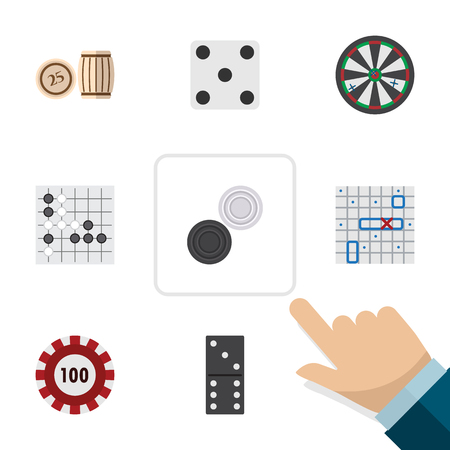 Flat Icon Entertainment Set Of Sea Fight, Lottery, Chequer And Other Vector Objects. Also Includes Domino, Arrow, Lottery Elements.