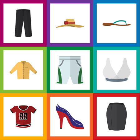 Flat Icon Garment Set Of T-Shirt, Pants, Banyan And Other Vector Objects. Also Includes Leggings, Sport, Shoes Elements.