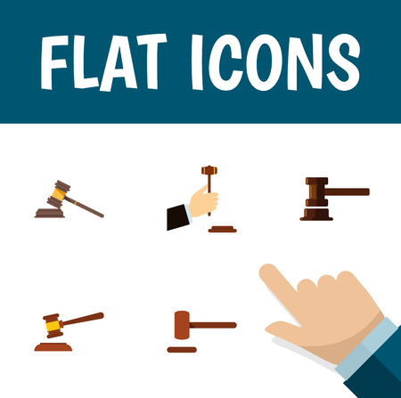 Flat Icon Lawyer Set Of Law, Defense, Hammer And Other Vector Objects. Also Includes Legal, Courthouse, Law Elements. Illustration