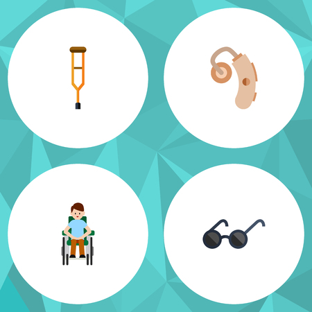 Flat Icon Disabled Set Of Stand, Disabled Person, Audiology Vector Objects. Also Includes Stand, Aid, Eyeglasses Elements. Illustration