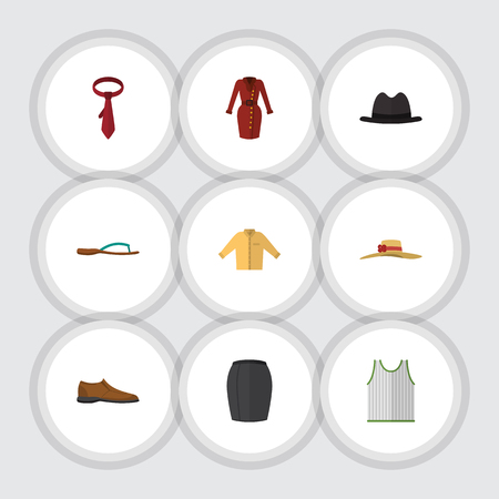 Flat Icon Clothes Set Of Elegant Headgear, Singlet, Male Footware And Other Vector Objects. Also Includes Dress, Hat, Headgear Elements.