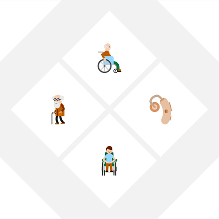 Flat Icon Handicapped Set Of Handicapped Man, Ancestor, Audiology Vector Objects. Also Includes Audiology, Handicapped, Aid Elements.