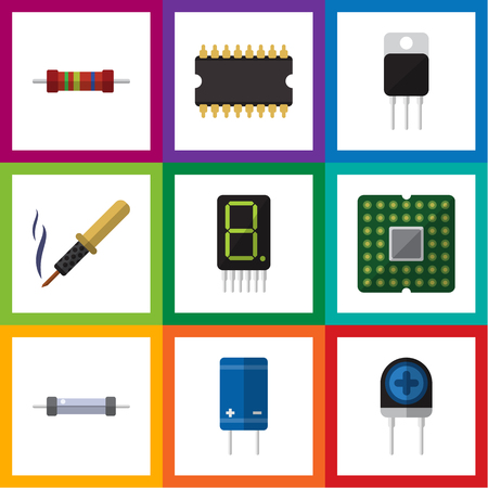 Flat Icon Electronics Set Of Resistor, Display, Repair And Other Vector Objects. Also Includes Transistor, Transducer, Unit Elements. Illustration