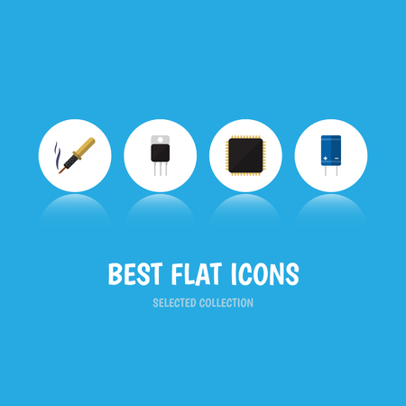 Flat Icon Appliance Set Of Cpu, Transistor, Repair And Other Vector Objects. Also Includes Motherboard, Cpu, Microprocessor Elements.