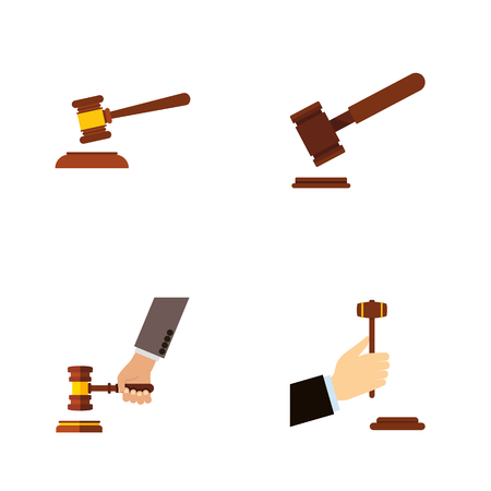 Flat Icon Hammer Set Of Hammer, Law, Crime And Other Vector Objects. Also Includes Legal, Justice, Defense Elements.