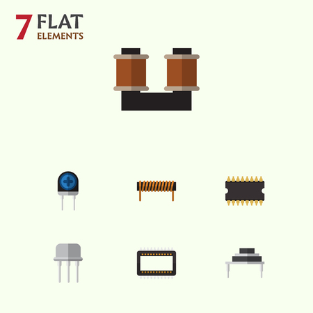 Flat Icon Electronics Set Of Resist, Transducer, Bobbin And Other Vector Objects. Also Includes Resist, Spool, Bobbin Elements.