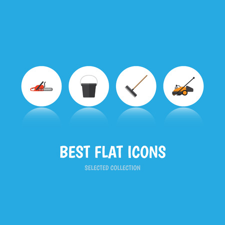 Flat Icon Farm Set Of Hacksaw, Harrow, Lawn Mower And Other Vector Objects. Also Includes Bucket, Rake, Blade Elements.