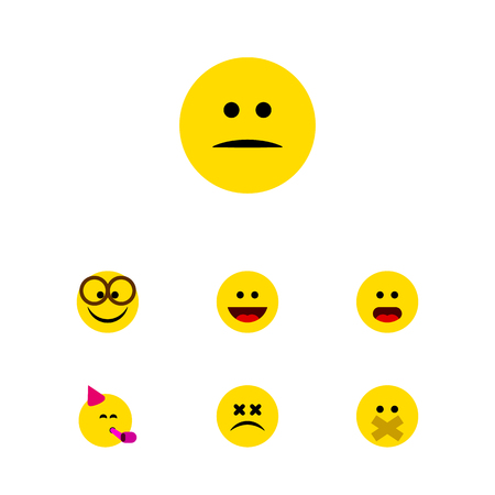 perplexity: Flat Icon Face Set Of Party Time Emoticon, Displeased, Hush And Other Vector Objects. Also Includes Pleasant, Smile, Displeased Elements.