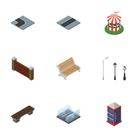 Isometric Architecture Set Of Phone Box, Seat, Turning Road And Other Vector Objects. Also Includes Brick, Wall, Attraction Elements.