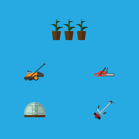 Flat Icon Dacha Set Of Hothouse, Hacksaw, Flowerpot And Other Vector Objects. Also Includes Plant, Greenhouse, Botany Elements. Illustration