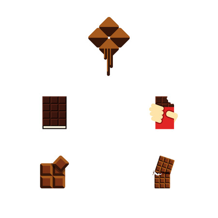 Flat Icon Sweet Set Of Shaped Box, Dessert, Wrapper And Other Vector Objects. Also Includes Delicious, Chocolate, Wrapper Elements.