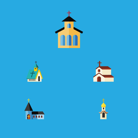 Flat Icon Church Set Of Religion, Architecture, Catholic And Other Vector Objects. Also Includes Faith, Christian, Traditional Elements.