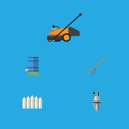 Flat Icon Garden Set Of Wooden Barrier, Lawn Mower, Hay Fork And Other Vector Objects