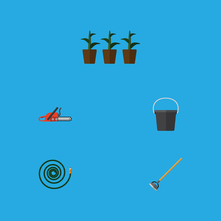 Flat Icon Garden Set Of Hosepipe, Hacksaw, Flowerpot And Other Vector Objects Illustration
