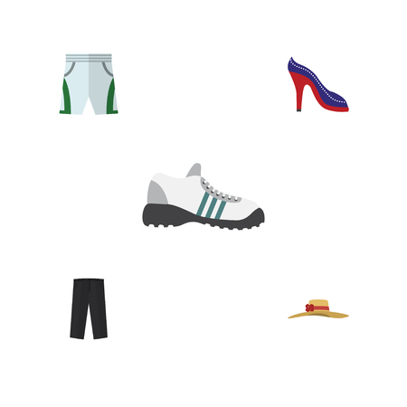 Flat Icon Garment Set Of Pants, Trunks Cloth, Elegant Headgear And Other Vector Objects