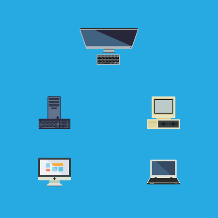 Flat Icon Laptop Set Of Display, Computer, Processor And Other Vector Objects Illustration