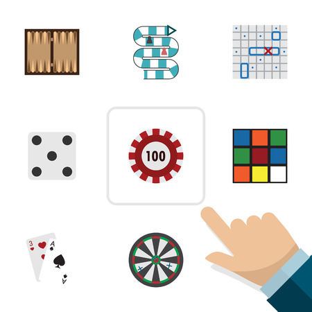 Flat Icon Entertainment Set Of Cube, Ace, Arrow And Other Vector Objects