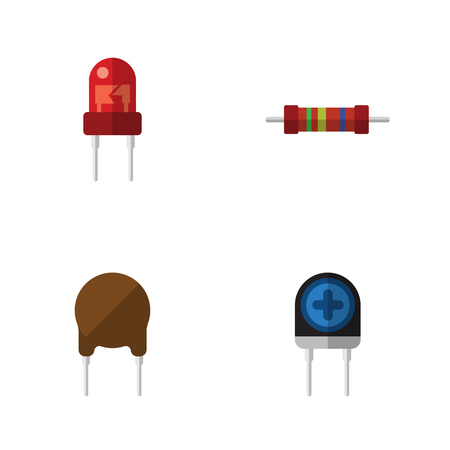 Flat Icon Device Set Of Transducer, Recipient, Resistance And Other Vector Objects Illustration