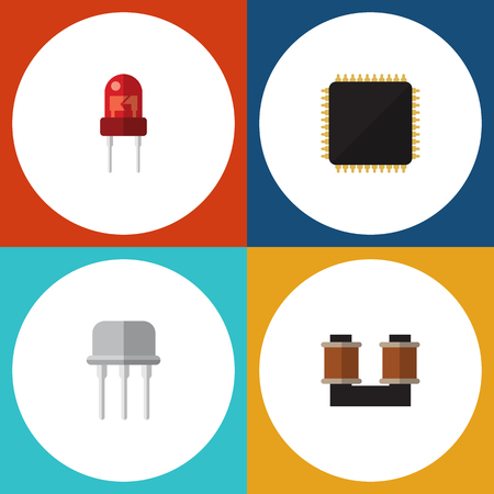 Flat Icon Device Set Of Resist, Coil Copper, Cpu And Other Vector Objects Illustration