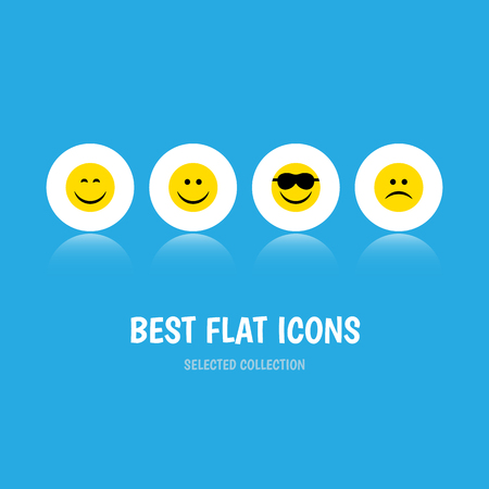 Flat Icon Gesture Set Of Happy, Joy, Smile And Other Vector Objects Vector Illustration