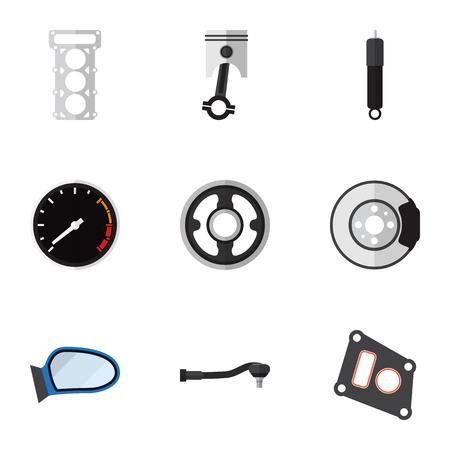 Flat Icon Parts Set van ingangstechnologie, riem, Conrod en andere vectorobjecten Stock Illustratie