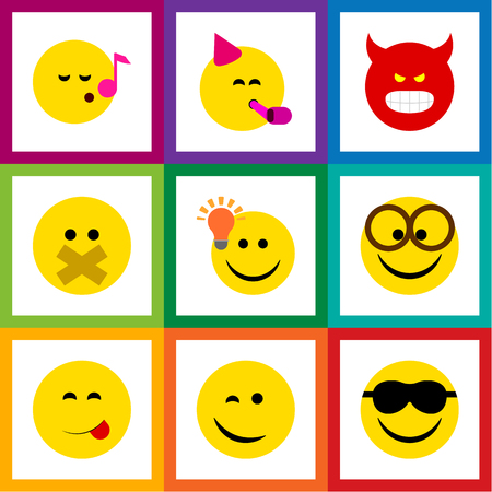 indignant: Flat Icon Face Set Of Descant, Happy, Pouting And Other Vector Objects Illustration