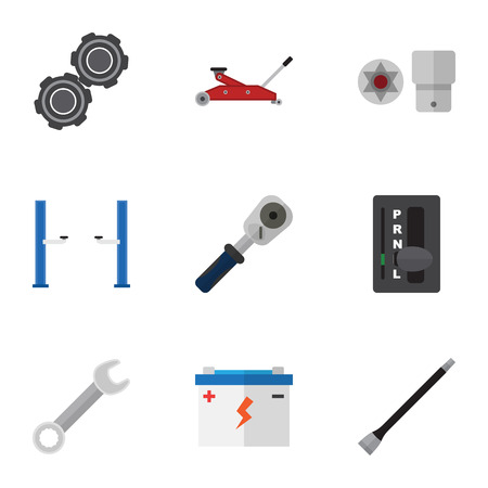 career timing: Flat Icon Service Set Of Automatic Transmission, Pipeline, Lifting And Other Vector Objects
