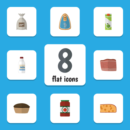 Flat Icon Food Set Of Sack, Canned Chicken, Tart And Other Vector Objects
