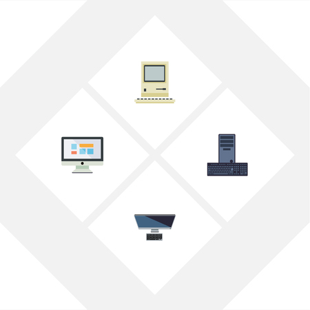 qwerty: Flat Icon Laptop Set Of PC, Display, Processor And Other Vector Objects