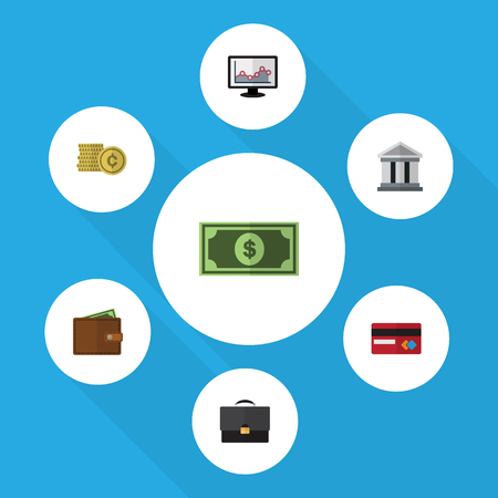 Flat Icon Finance Set Of Cash, Billfold, Bank And Other Vector Objects Illustration