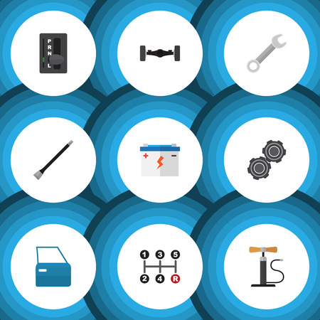 automatic transmission: Flat Icon Service Set Of Automobile Part, Automatic Transmission, Belt And Other Vector Objects Illustration