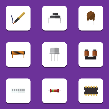 Flat Icon Device Set Of Bobbin, Destination, Triode And Other Vector Objects