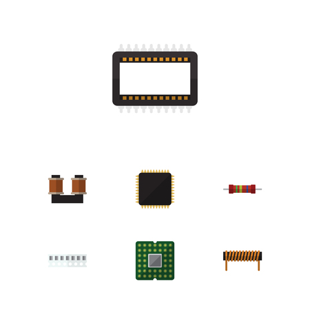 Flat Icon Electronics Set Of Mainframe, Unit, Coil Copper And Other Vector Objects