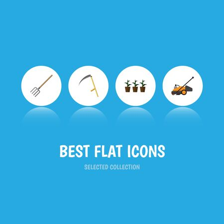 Flat Icon Farm Set Of Cutter, Hay Fork, Flowerpot And Other Vector Objects