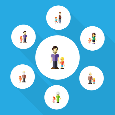 ancestor: Flat Icon Family Set Of Mother, Son, Grandchild Vector Objects