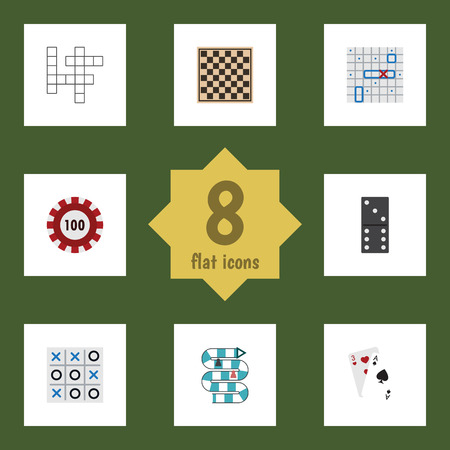 Flat Icon Play Set Of Chess Table, Ace, Poker And Other Vector Objects
