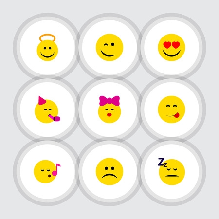Flat Icon Emoji Set Of Party Time Emoticon, Winking, Caress And Other Vector Objects