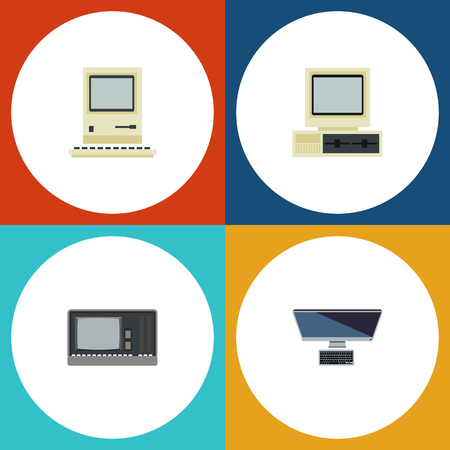 computerized: Flat Icon Laptop Set Of Vintage Hardware, Computer, Computing And Other Vector Objects