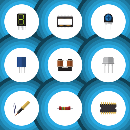 Flat Icon Appliance Set Of Resist, Transducer, Display And Other Vector Objects Illustration