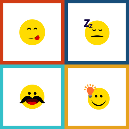 Flat Icon Emoji Set Of Cheerful, Have An Good Opinion, Delicious Food And Other Vector Objects