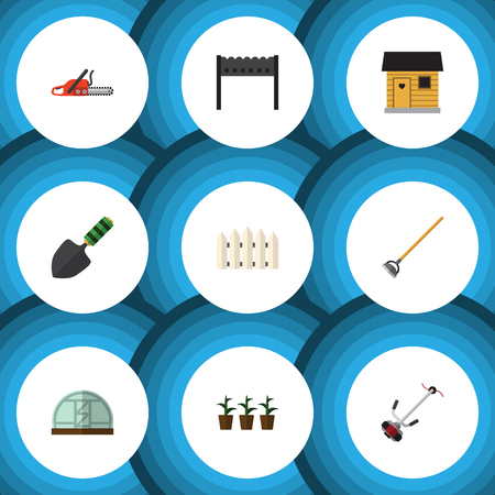 Flat Icon Dacha Set Of Grass-Cutter, Wooden Barrier, Hothouse And Other Vector Objects