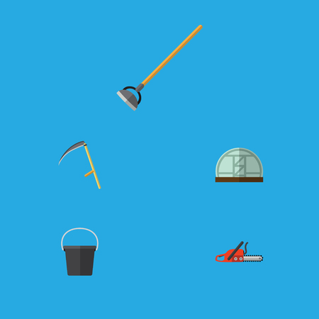 Flat Icon Farm Set Of Tool, Hothouse, Cutter And Other Vector Objects
