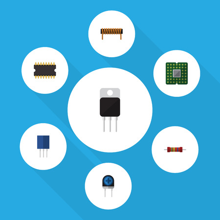 Flat Icon Technology Set Of Receptacle, Unit, Bobbin And Other Vector Objects Illustration