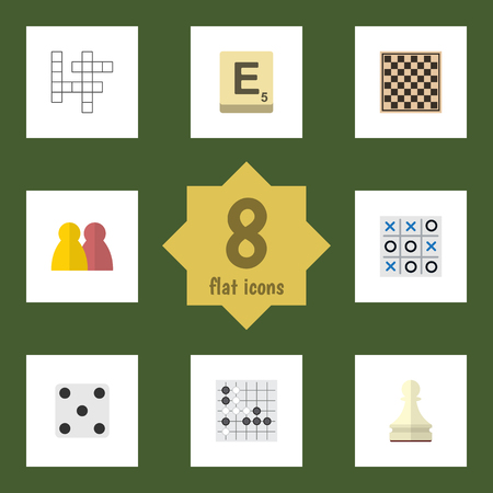 Flat Icon Games Set Of Guess, Mahjong, X&O And Other Vector Objects